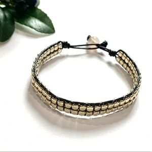 Jewelry - Gold and Black Bracelet With Pale Pink Fastener